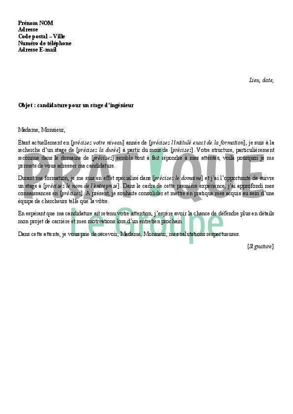 lettre de motivation pour un stage d u0026 39 ing u00e9nieur