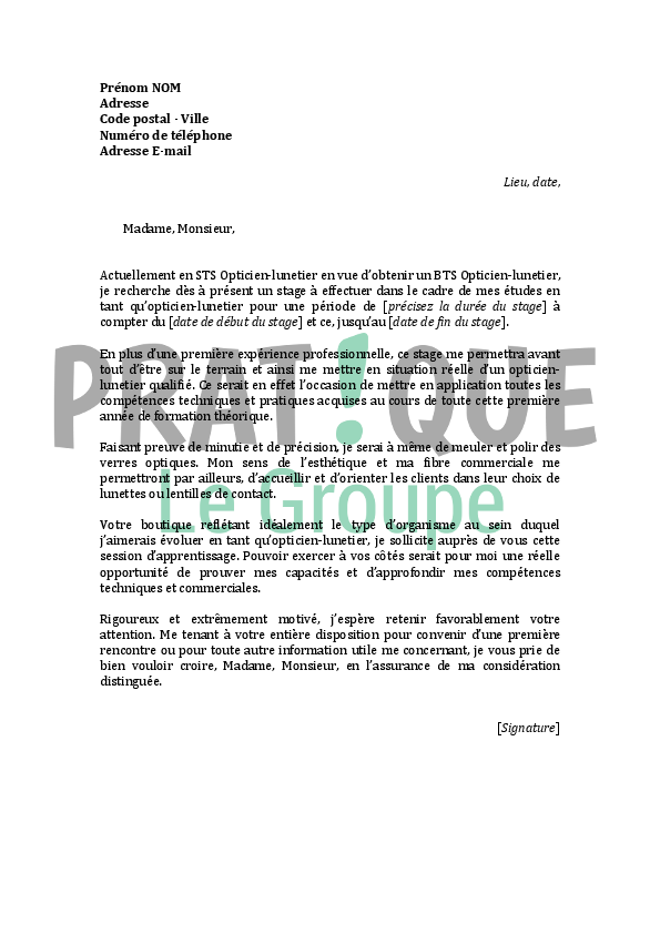 lettre de motivation pour un stage d u0026 39 opticien lunetier