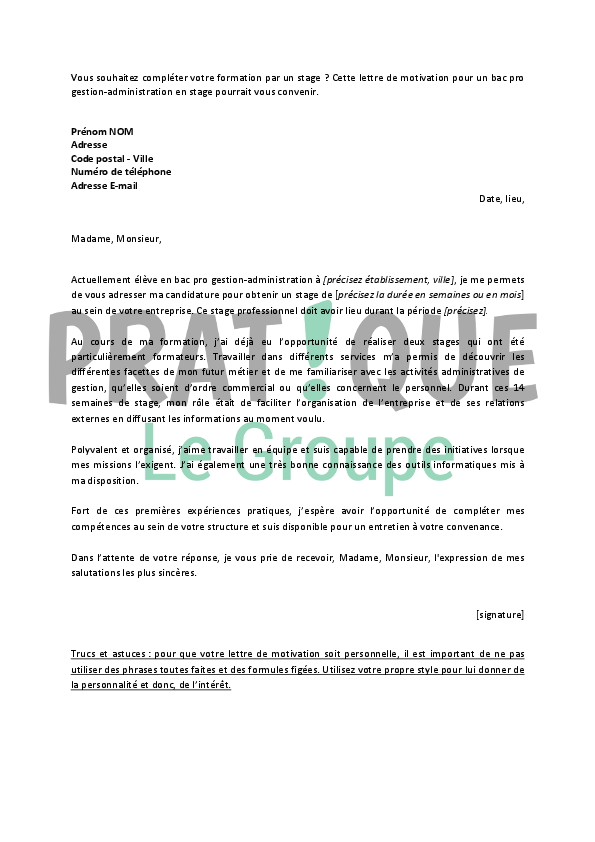 lettre de motivation bac pro