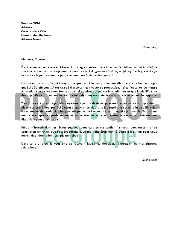 lettre de motivation stage controle de gestion