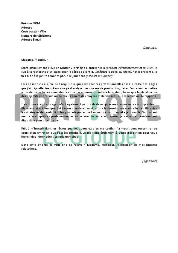 lettre de motivation pour un stage de contr u00f4leur de gestion