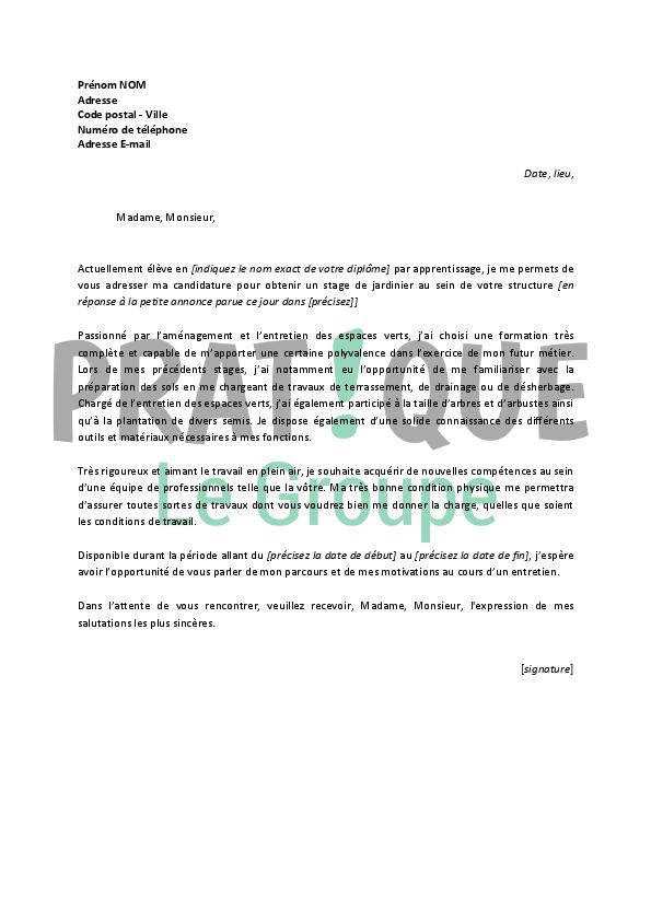 Lettre de motivation pour un stage de jardinier | Pratique.fr