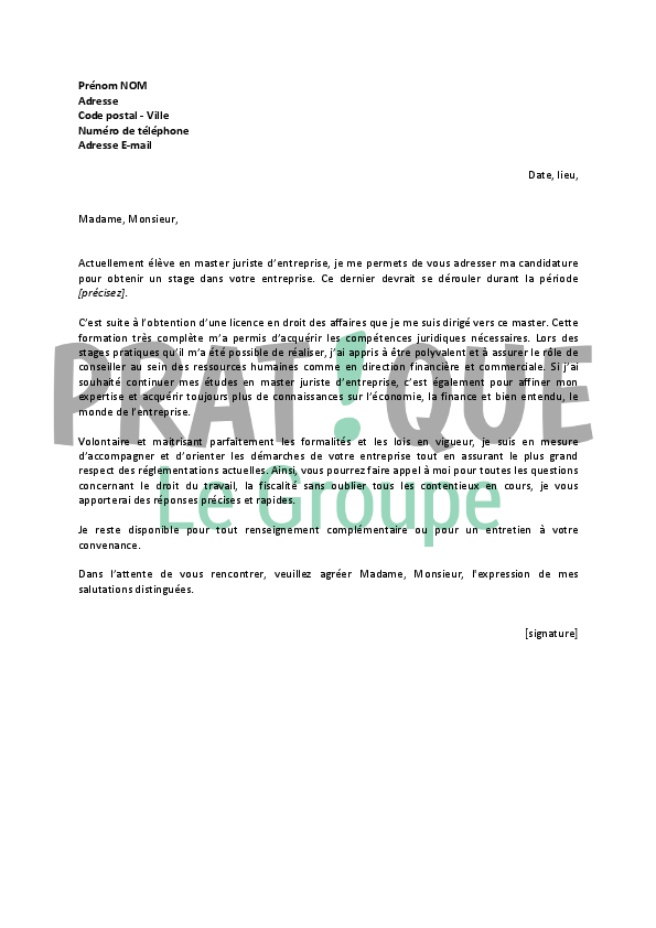 lettre de motivation pour un stage de master juriste d