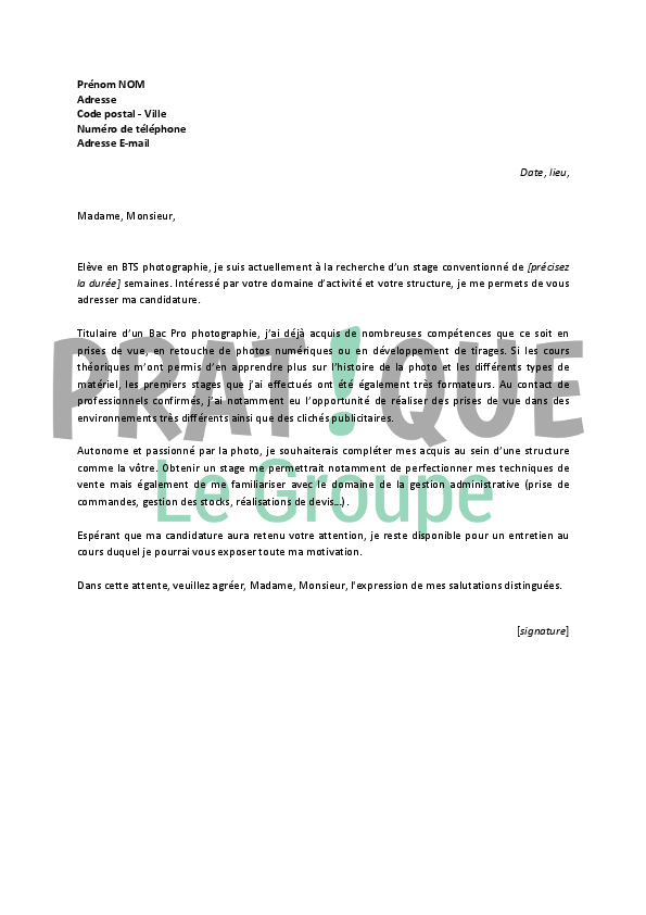 lettre de motivation pour stage pompier