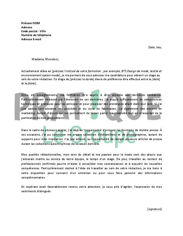 lettre de motivation pour un stage de styliste presse