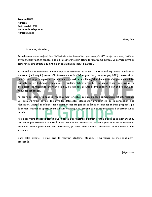 lettre de motivation pour un stage de styliste