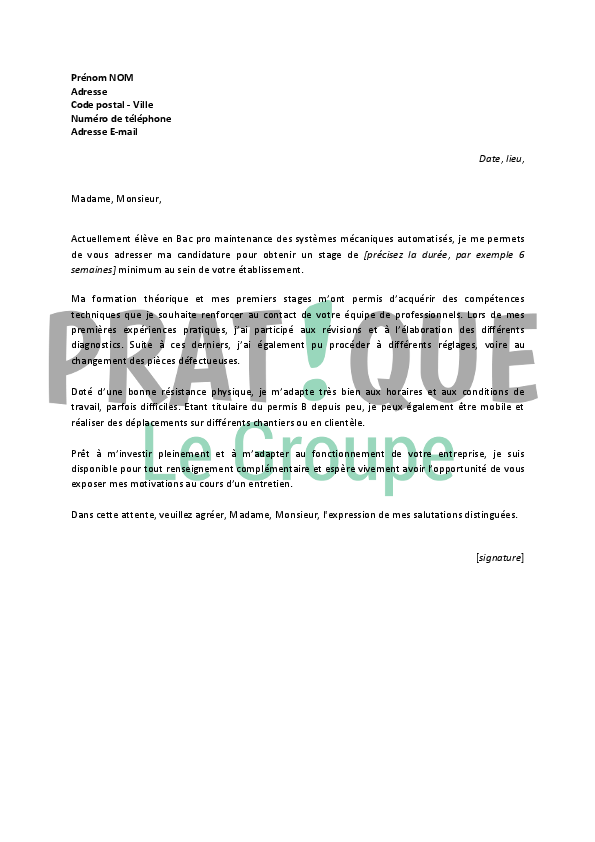 Lettre de motivation pour un stage de technicien de ...