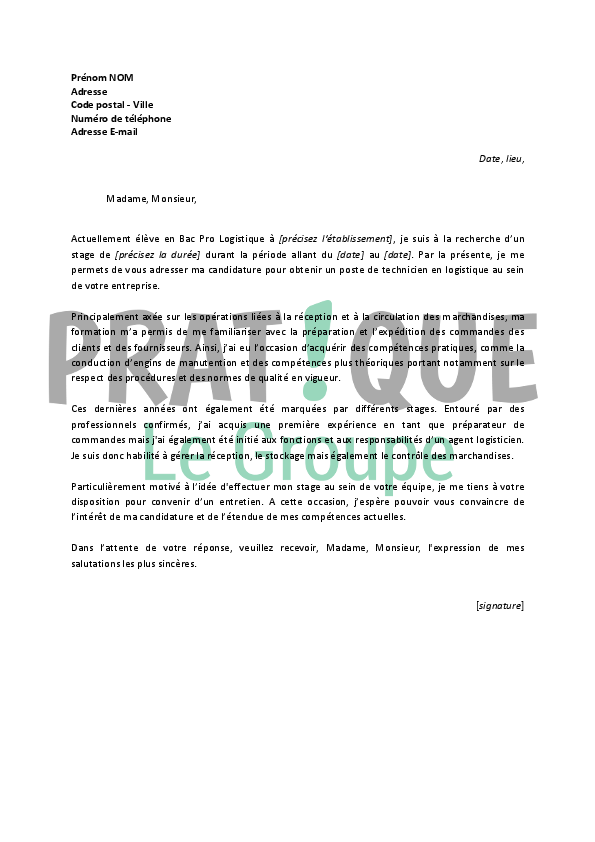 lettre de motivation pour un stage de technicien en