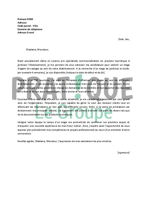 lettre de motivation pour un stage d u2019agent de voyages