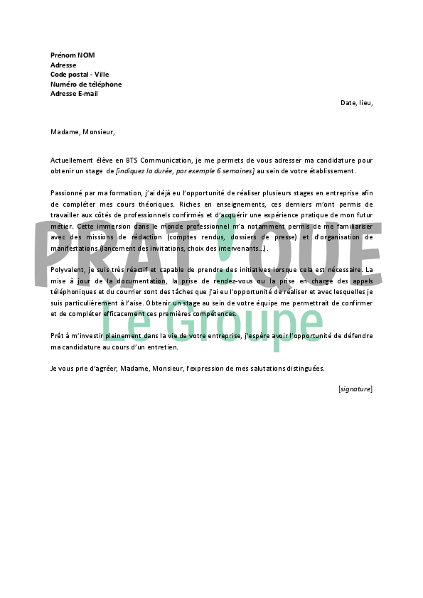 lettre de motivation pour un stage d u2019assistant communication