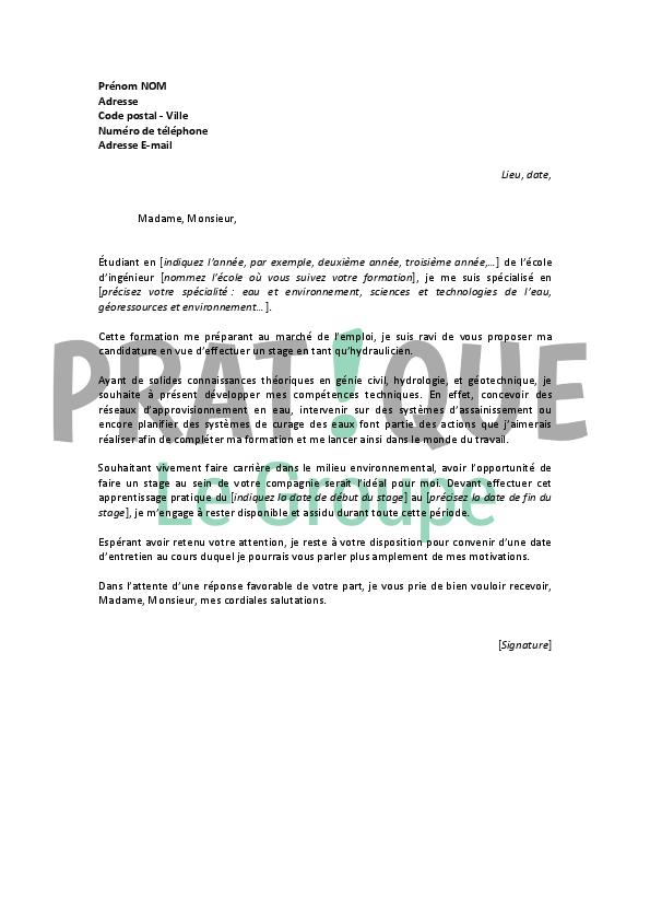 lettre de motivation pour un stage d u2019hydraulicien