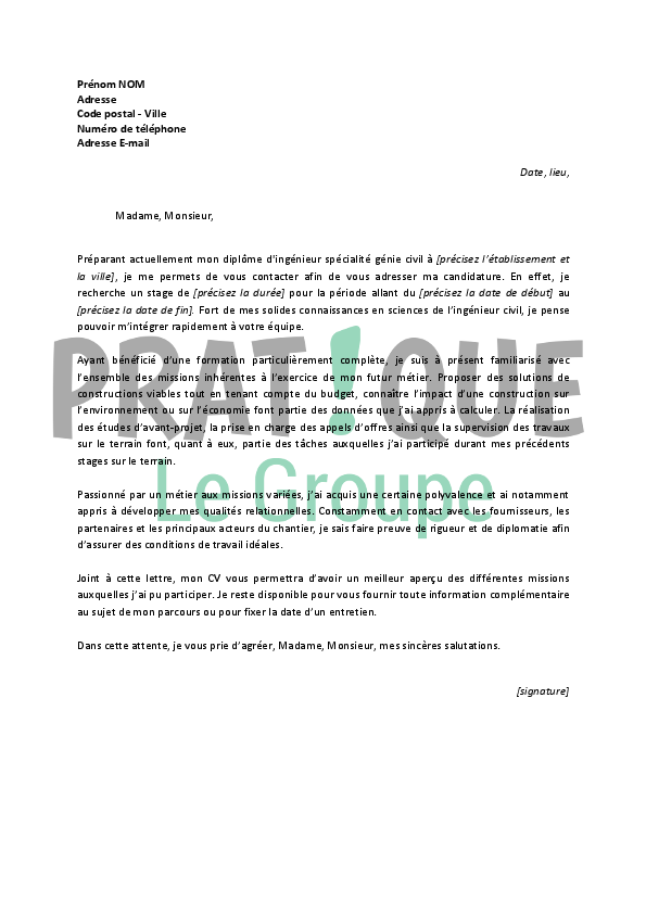 cover letter example  exemple de lettre de motivation pour un stage g u00e9nie civil