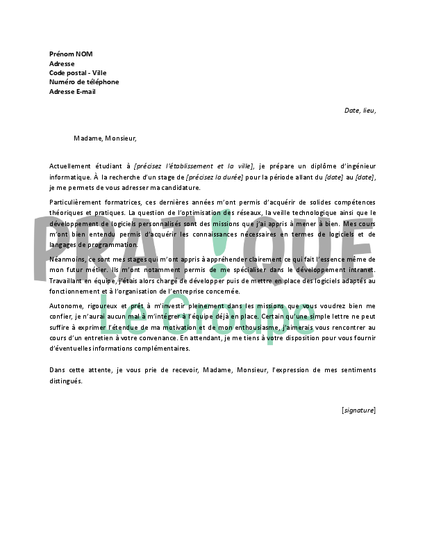 Lettre De Motivation Pour Un Stage D Ingenieur Informatique