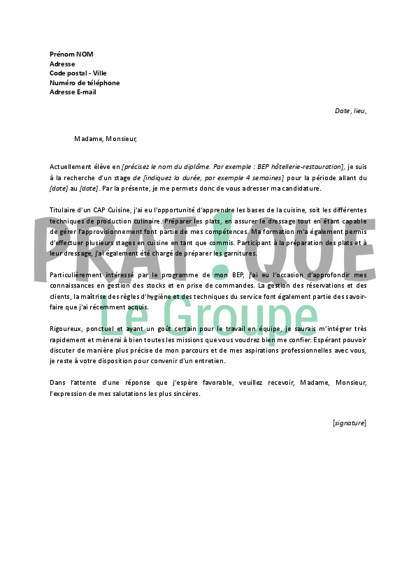 lettre de motivation pour un stage en bep h u00f4tellerie