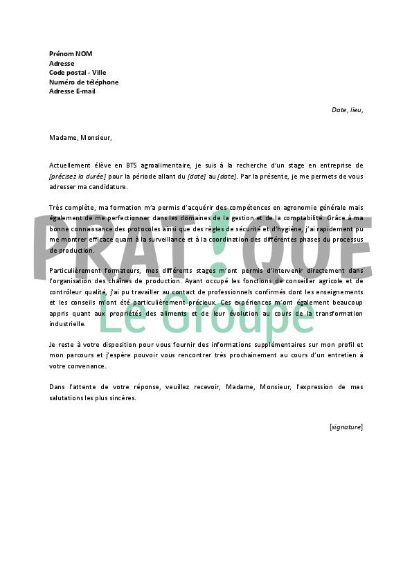 lettre de motivation pour un stage en bts agroalimentaire