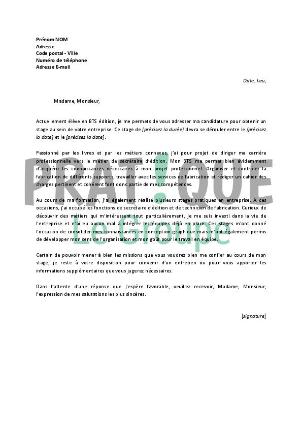 lettre de motivation pour un stage en bts 233 dition pratique fr