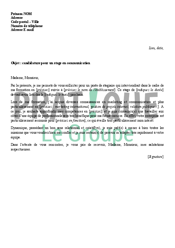 exemple lettre de motivation stage communication