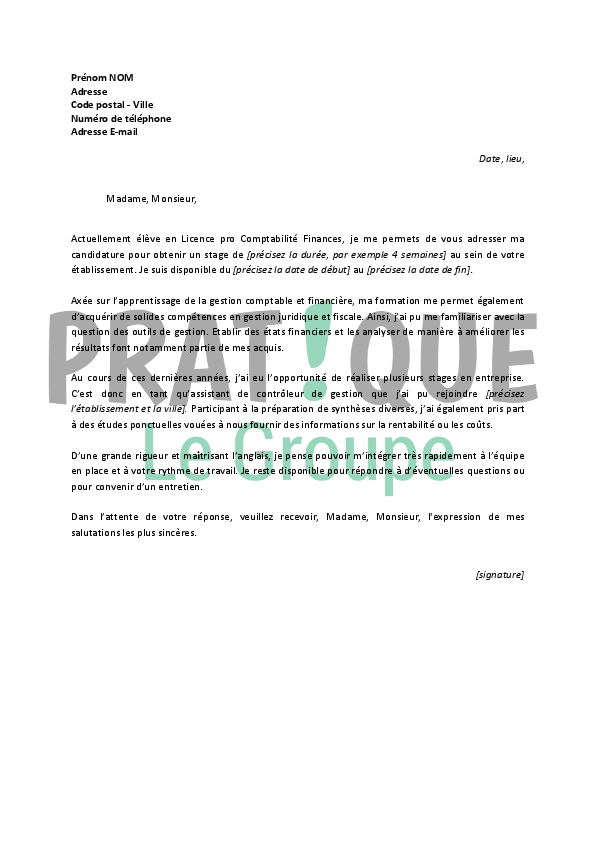 Lettre de motivation pour un stage en comptabilit finance - Cabinet de recrutement comptabilite finance ...