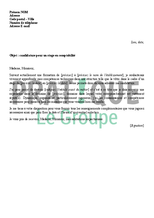 lettre de motivation stage de comptabilite