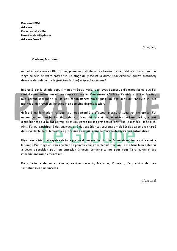 lettre de motivation pour un stage en dut chimie