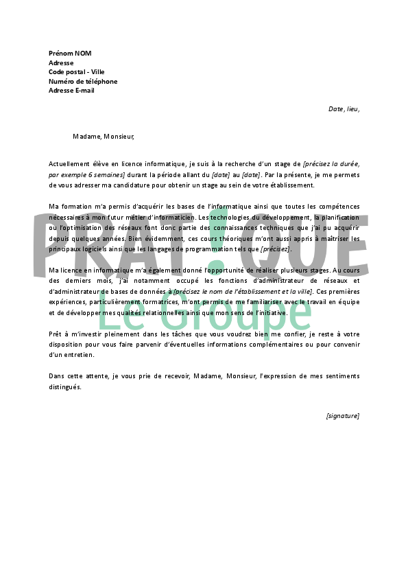 lettre de motivation pour un stage en licence informatique