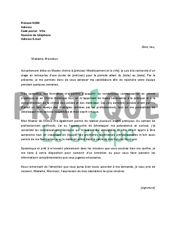 lettre de motivation chimie