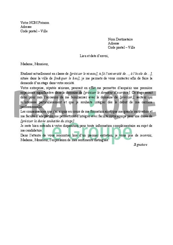Lettre de motivation pour un stage | Pratique.fr