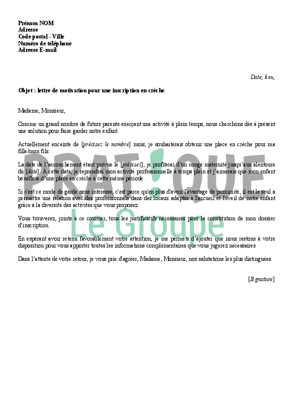 lettre de motivation pour une inscription en cr u00e8che