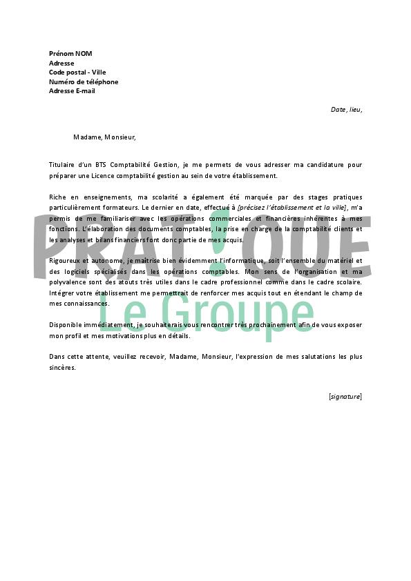 lettre de motivation pour une licence comptabilit u00e9 gestion