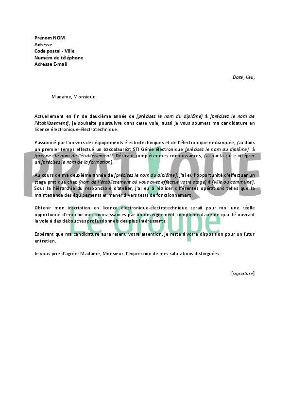 lettre de motivation pour une licence  u00e9lectronique