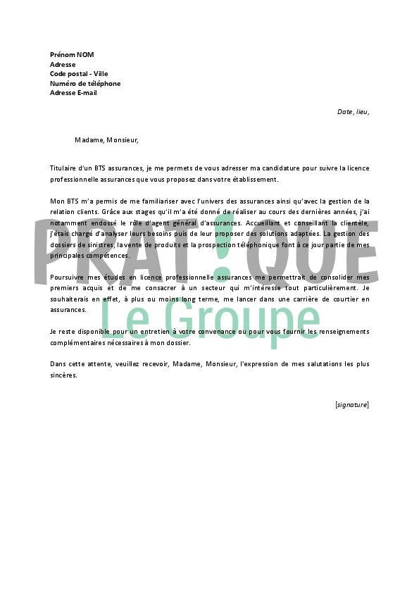 lettre de motivation pour une licence professionnelle assurances