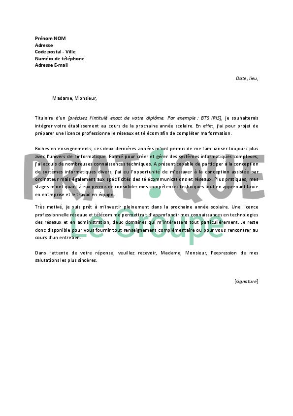 lettre de motivation pour une licence professionnelle r u00e9seaux et t u00e9l u00e9com