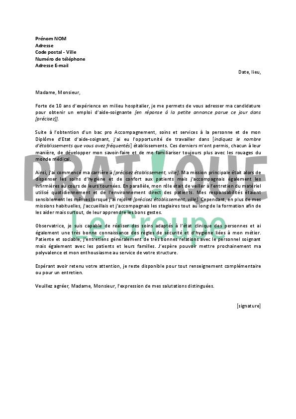 lettre de motivation type pour un emploi d aide soignante pratique fr