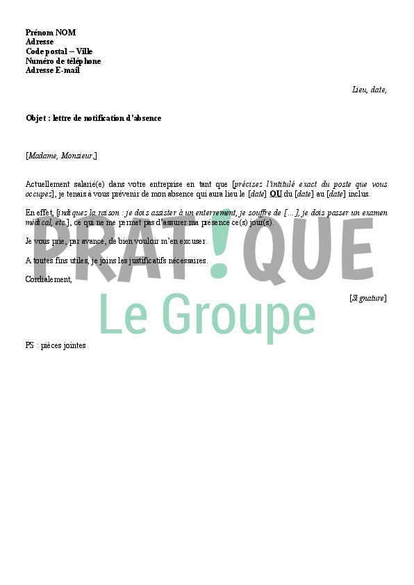 modele de lettre absence Lettre de notification d'absence au bureau | Pratique.fr modele de lettre absence
