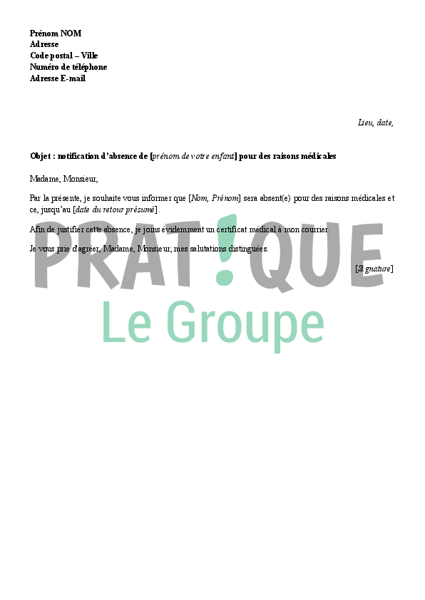 modele de courrier justificatif d u0026 39 absence