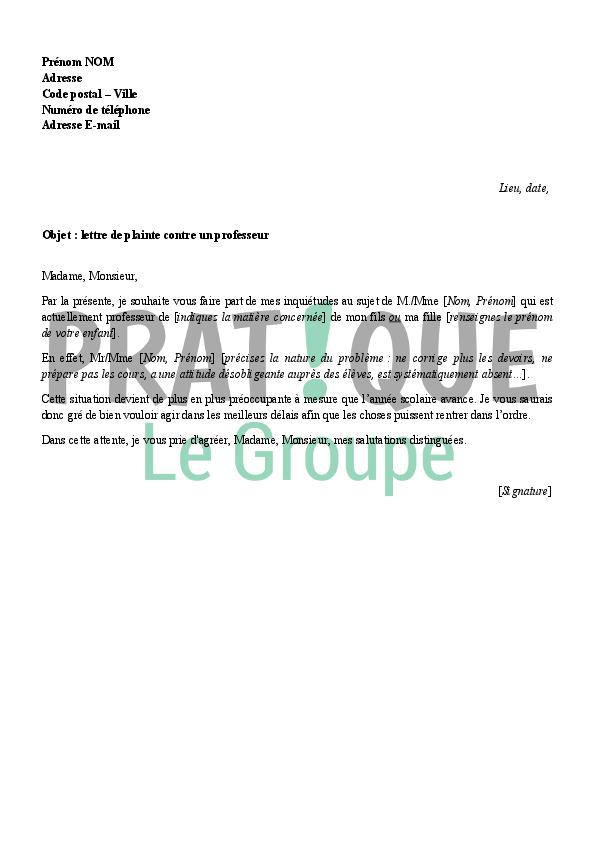 Lettre de plainte contre un professeur   Pratique.fr