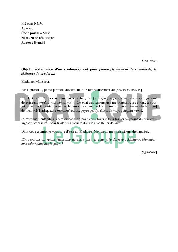 Lettre de r clamation d 39 un remboursement - Reclamation reexpedition courrier ...