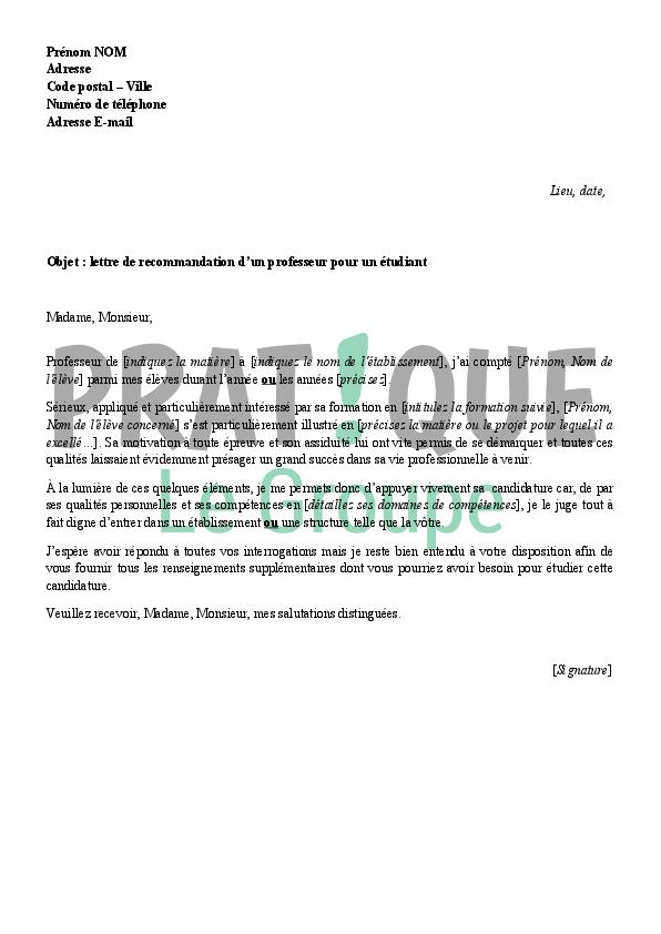 Lettre de recommandation d'un professeur pour un étudiant (modèle