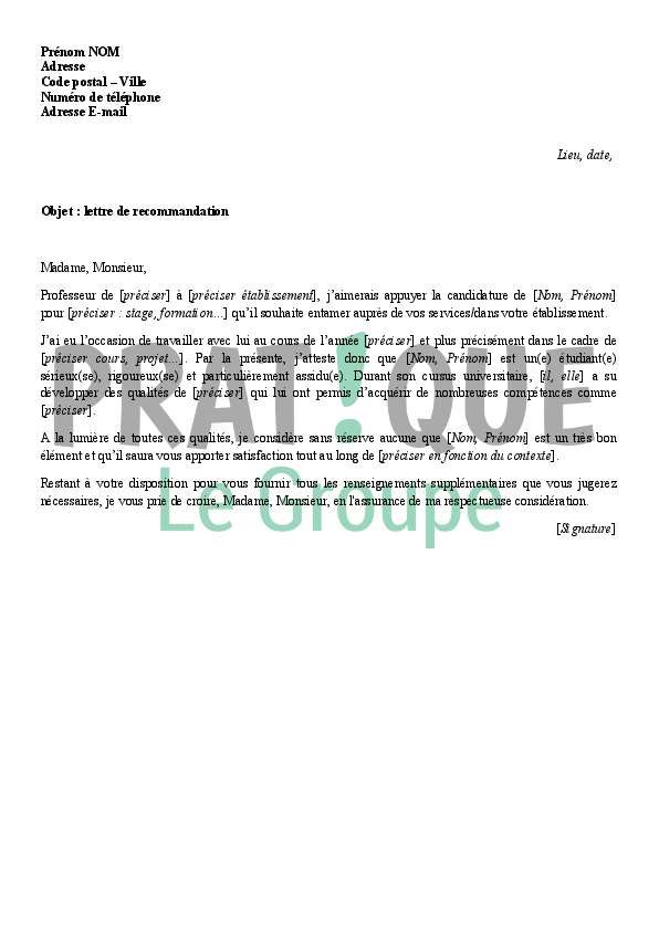 lettre de recommandation d u0026 39 un professeur pour un  u00e9tudiant