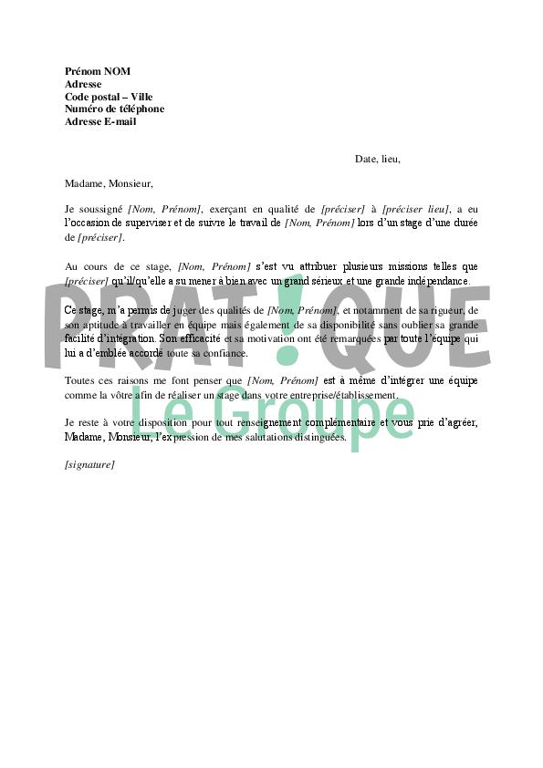Lettre de recommandation pour un stage | Pratique.fr