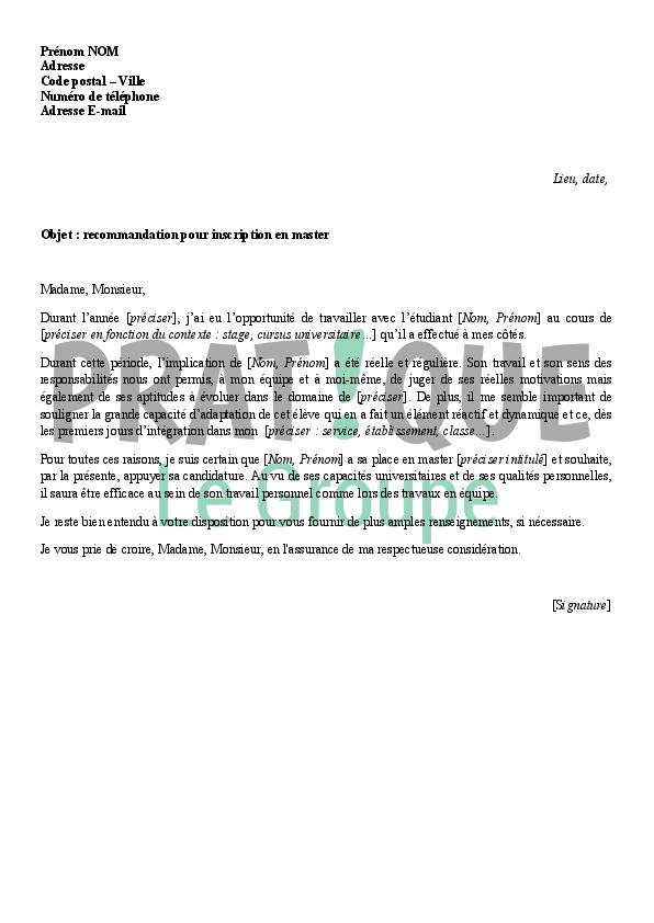 lettre de recommandation master exemple