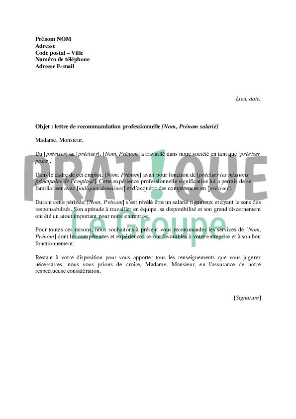 Lettre de recommandation: professionnelle modèle type | Pratique.fr