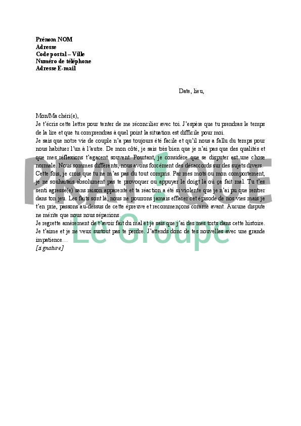 modele de lettre pour s excuser Lettre de réconciliation dans un couple | Pratique.fr modele de lettre pour s excuser