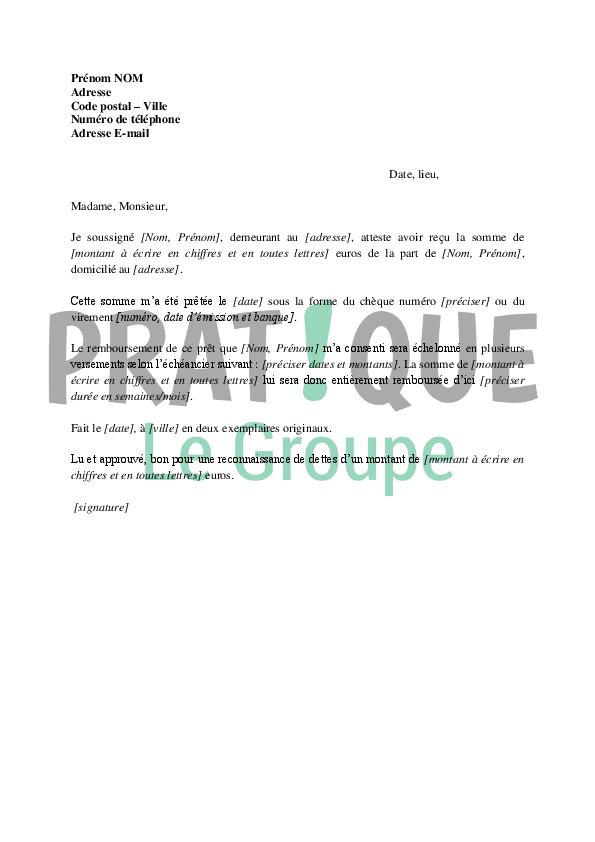 modele lettre de reconnaissance de dette gratuite Lettre de reconnaissance de dette | Pratique.fr modele lettre de reconnaissance de dette gratuite