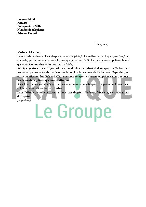 Lettre De Refus D Execution Des Heures Supplementaires Pratique Fr