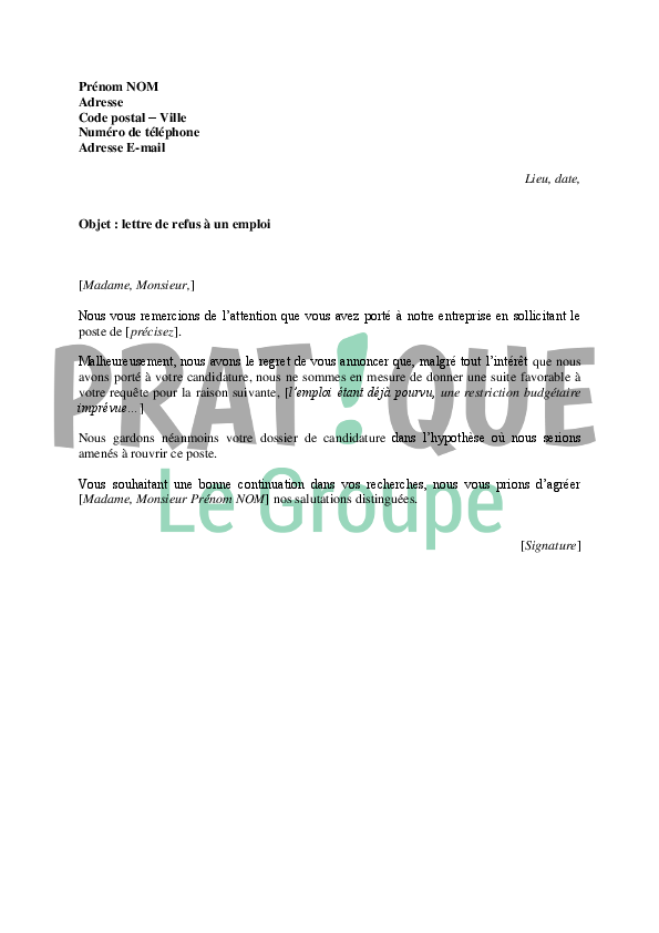 exemple de courrier de refus de candidature