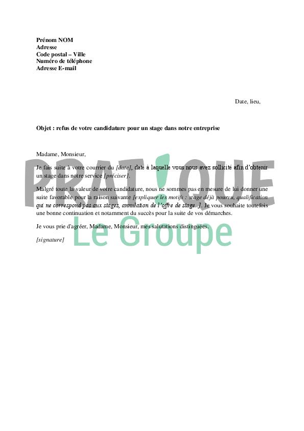 lettre de refus d u0026 39 une candidature  u00e0 un stage