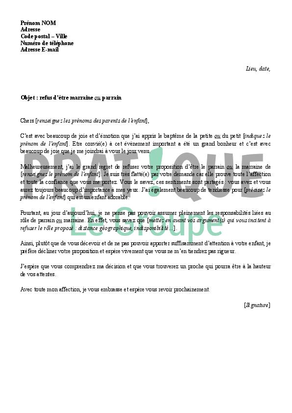 modele lettre pour bapteme Lettre de refus pour être parrain ou marraine | Pratique.fr modele lettre pour bapteme