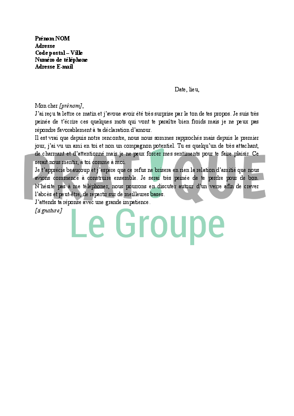 Lettre De Refus Suite à Une Déclaration Damour Dune Ami