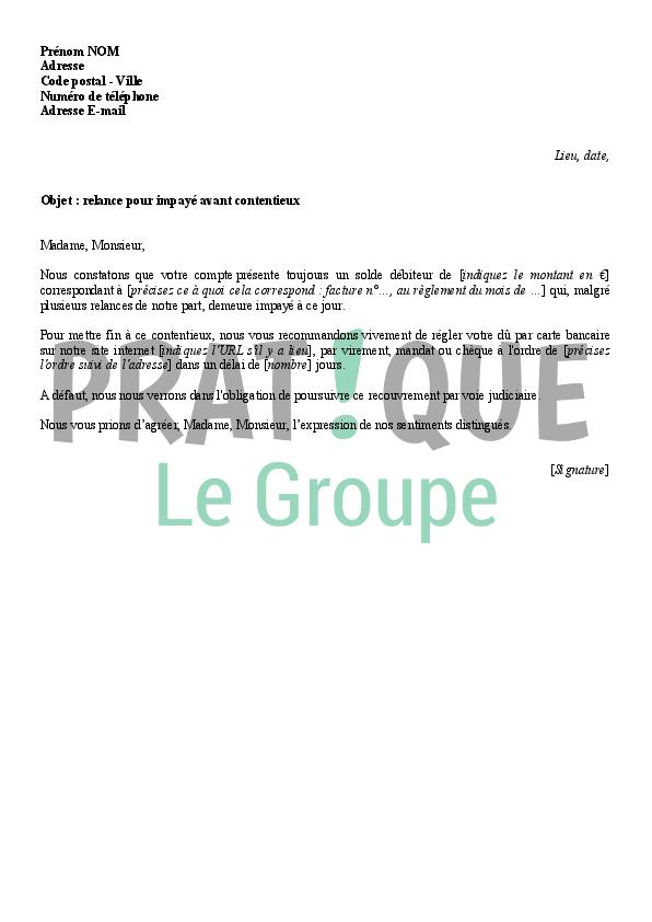 Lettre De Relance Pour Impaye Avant Contentieux Pratique Fr